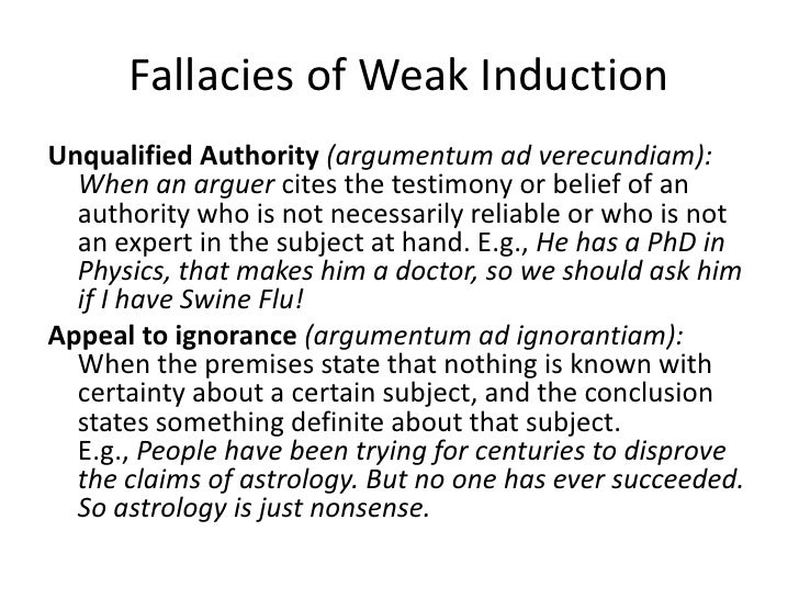 Tomorrow example of a weak inductive argument every time i have.