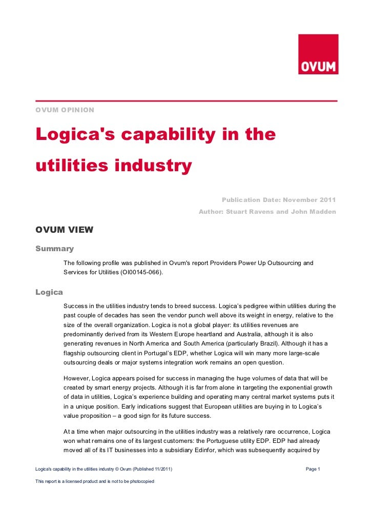 OVUM OPINIONLogicas capability in theutilities industry                                                                   ...