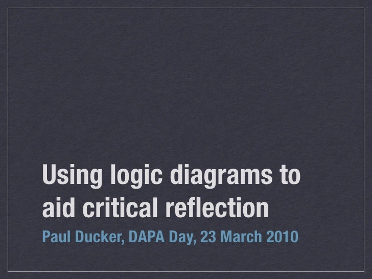 Using logic diagrams to aid critical reflection Paul Ducker, DAPA Day, 23 March 2010