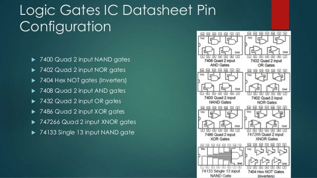 logic gates ic datasheet pin configuration