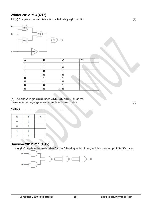 Logic Gates O level Past Papers questions – Truth Table Worksheet