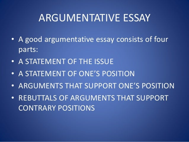 components of an argument essay Traditional academic essays in three parts  especially if you've made a long  and complicated argument, it's useful to restate your main points for your reader.