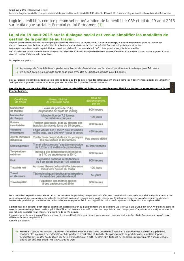 Publié sur 1-One (http://www.1-one.fr) Accueil > Logiciel pénibilité, compte personnel de prévention de la pénibilité C3P ...