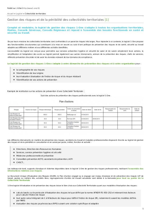 Publié sur 1-One (http://www.1-one.fr) Accueil > Logiciel > Collectivités territoriales Gestion des risques et de la pénib...