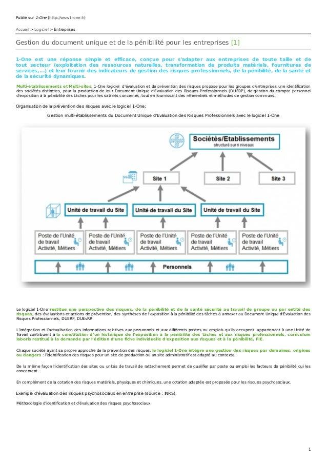 Publié sur 1-One (http://www.1-one.fr) Accueil > Logiciel > Entreprises Gestion du document unique et de la pénibilité pou...