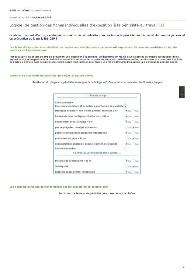 Publié sur 1-One (http://www.1-one.fr) Accueil > Logiciel > Logiciel pénibilité Logiciel de gestion des fiches individuelle...
