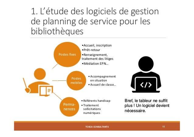 1. L'étude des logiciels de gestion de planning de service pour les bibliothèques Postes fixes •Accueil, inscription •Prêt...