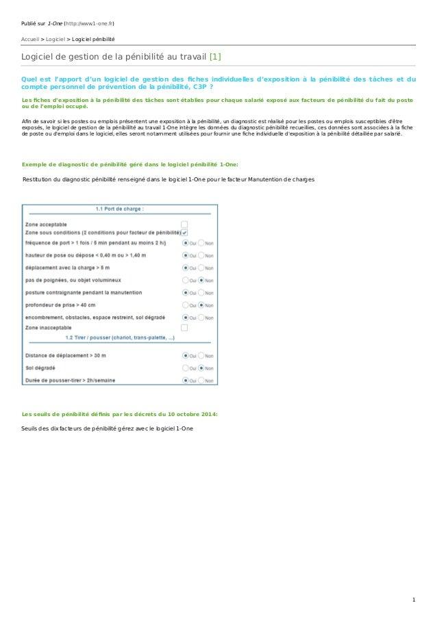 Publié sur 1-One (http://www.1-one.fr) Accueil > Logiciel > Logiciel pénibilité Logiciel de gestion de la pénibilité au tr...