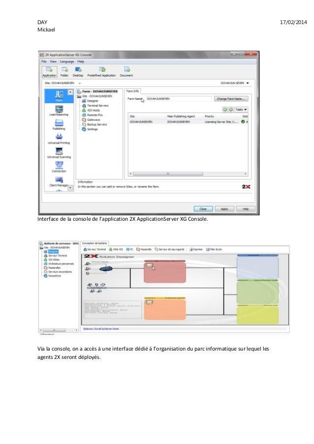 DAY 17/02/2014 Mickael Interface de la console de l'application 2X ApplicationServer XG Console. Via la console, on a accè...