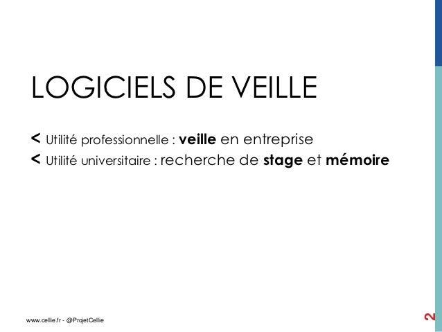 LOGICIELS DE VEILLE < Utilité professionnelle : veille en entreprise < Utilité universitaire : recherche de stage et mémoi...