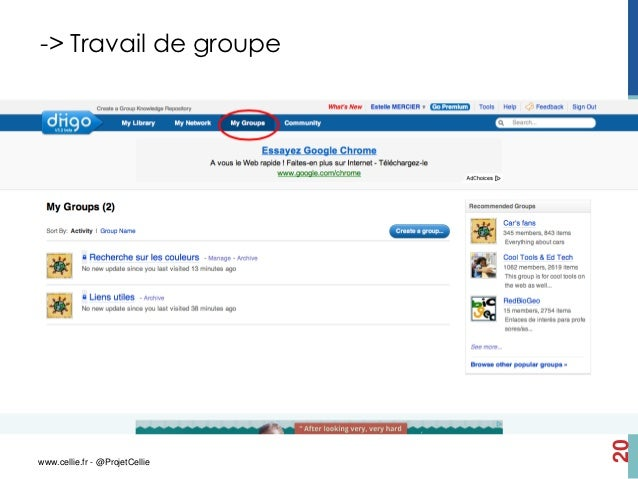 -> Travail de groupe                                20www.cellie.fr - @ProjetCellie