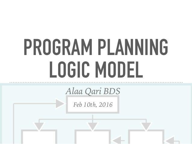 PROGRAM PLANNING LOGIC MODEL Alaa Qari BDS Feb 10th, 2016