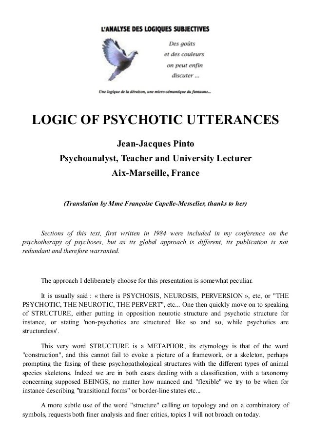 Logic Of Psychotic Utterances Translation By Mme Franoise Capelle M