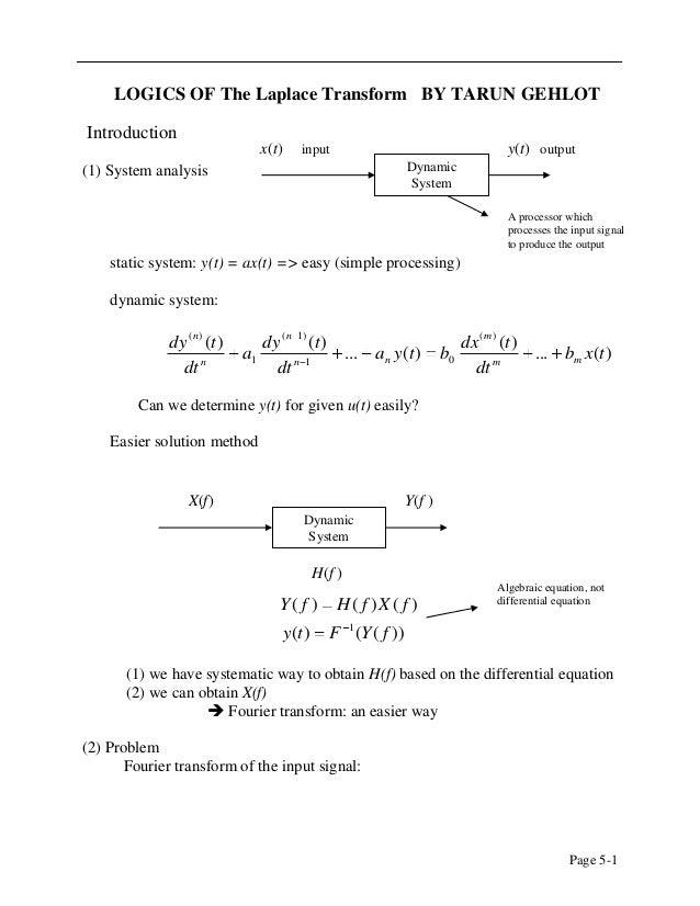 LOGICS OF The Laplace Transform BY TARUN GEHLOTIntroduction                                x(t)      input                ...
