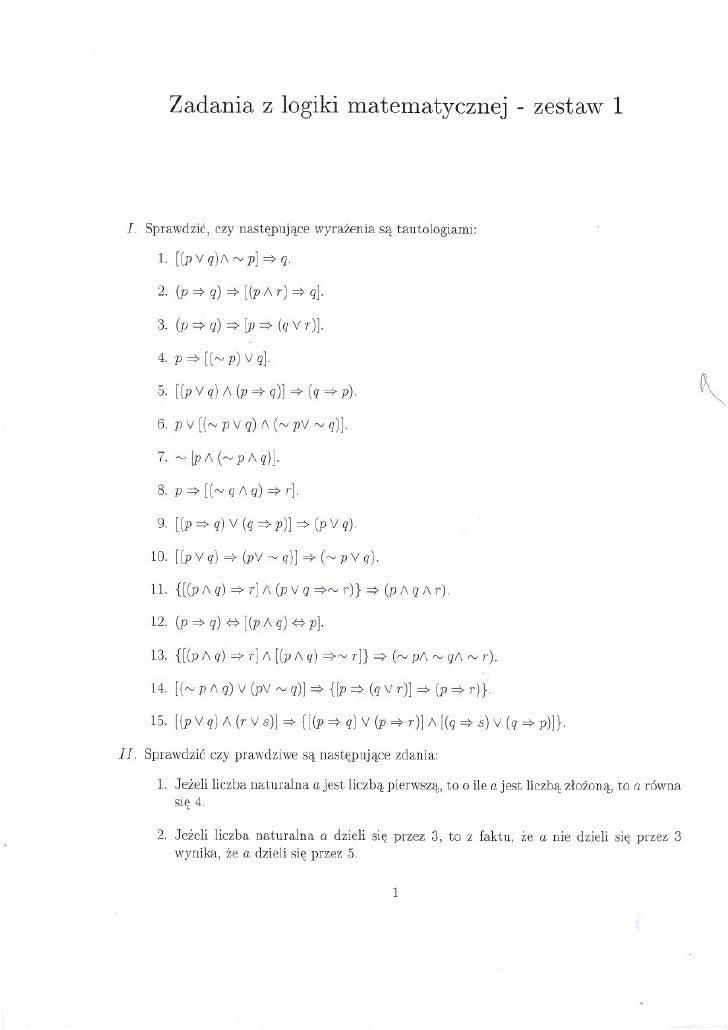 Logika matematyczna - zestaw 1