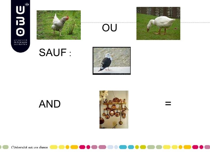 <ul><li>OU </li></ul><ul><li>SAUF  : </li></ul><ul><li>AND =   </li></ul>