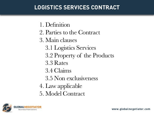 Logistics services contract contract template and sample for It service definition template