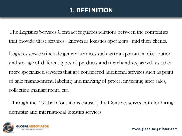 Model Contract Www.globalnegotiator.com; 2. The Logistics Services ...  Contract Of Services Sample