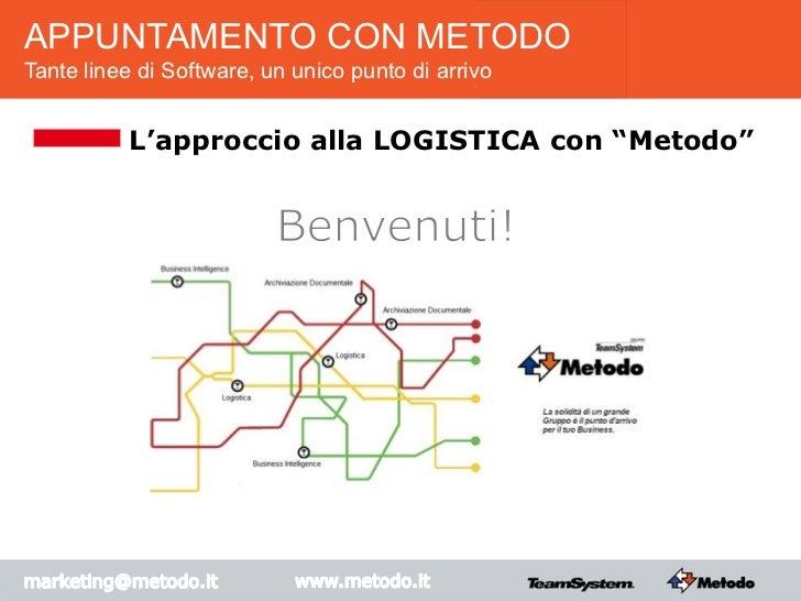 """APPUNTAMENTO CON METODOTante linee di Software, un unico punto di arrivo           L'approccio alla LOGISTICA con """"Metodo"""""""