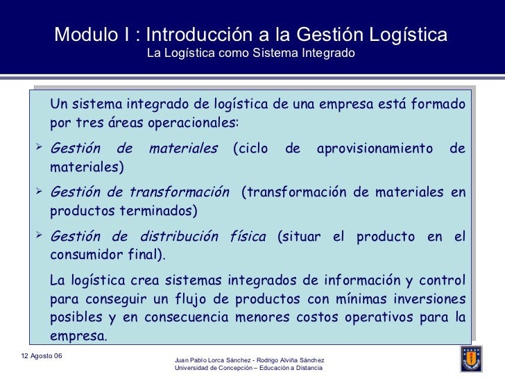 Modulo I : Introducción a la Gestión Logística La Logística como Sistema Integrado <ul><li>Un sistema integrado de logísti...