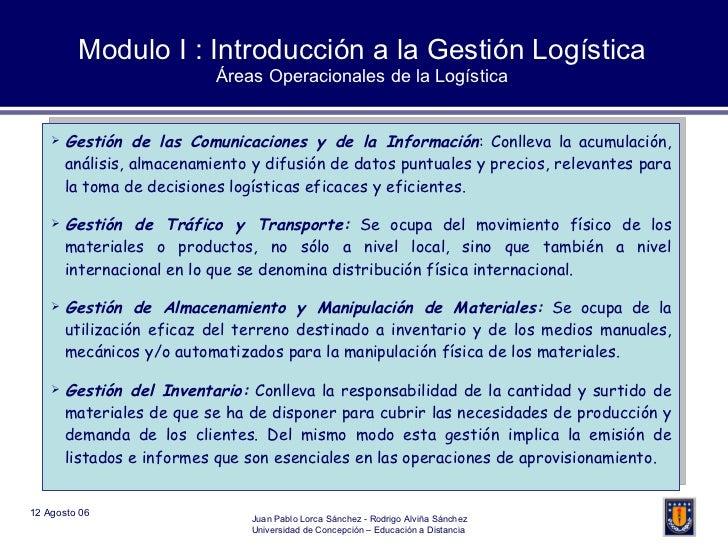 Modulo I : Introducción a la Gestión Logística Áreas Operacionales de la Logística <ul><li>Gestión de las Comunicaciones y...