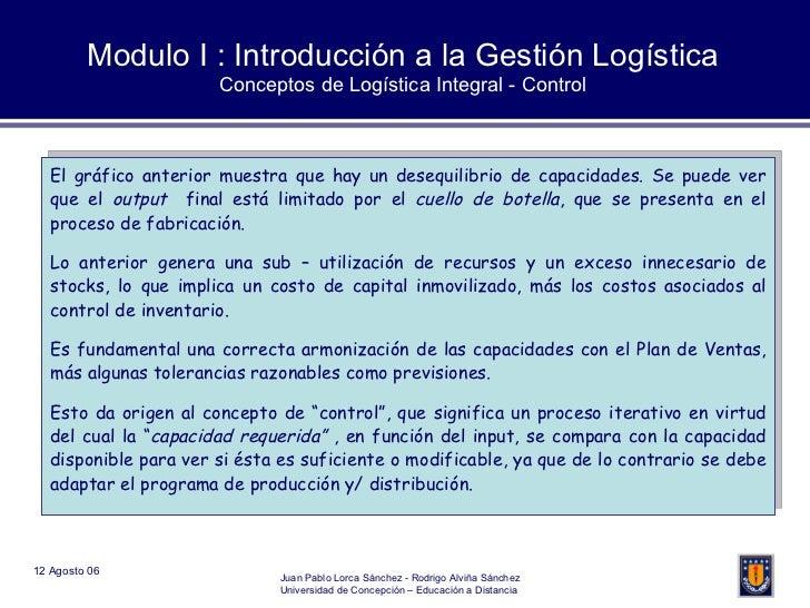 Modulo I : Introducción a la Gestión Logística Conceptos de Logística Integral - Control El gráfico anterior muestra que h...