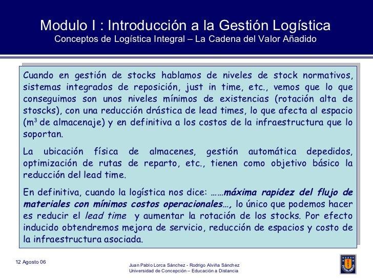 Modulo I : Introducción a la Gestión Logística Conceptos de Logística Integral – La Cadena del Valor Añadido Cuando en ges...