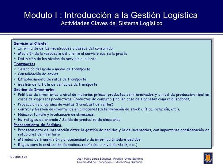 Modulo I : Introducción a la Gestión Logística Actividades Claves del Sistema Logístico <ul><li>Servicio al Cliente: </li>...