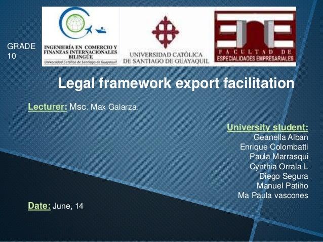 Legal framework export facilitation Lecturer: Msc. Max Galarza. University student: Geanella Alban Enrique Colombatti Paul...