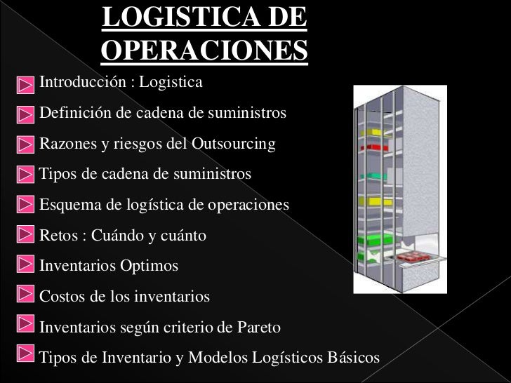 LOGISTICA DE         OPERACIONESIntroducción : LogisticaDefinición de cadena de suministrosRazones y riesgos del Outsourci...