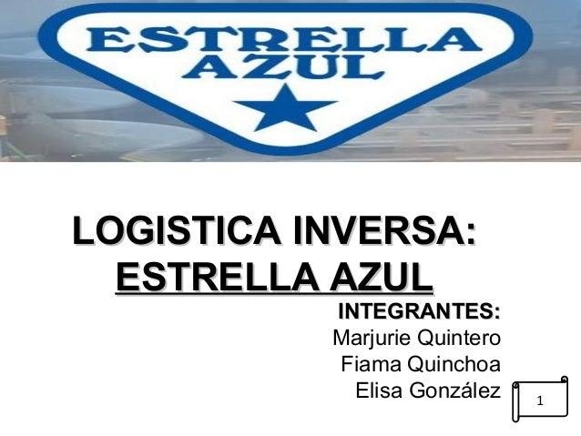 LLOOGGIISSTTIICCAA IINNVVEERRSSAA::  EESSTTRREELLLLAA AAZZUULL  IINNTTEEGGRRAANNTTEESS::  Marjurie Quintero  Fiama Quincho...