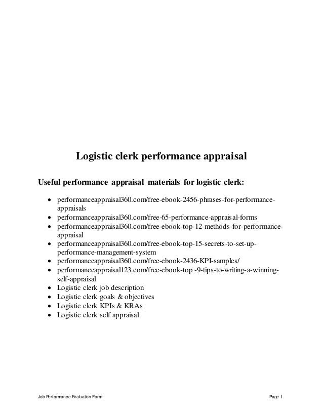 Job Performance Evaluation Form Page 1 Logistic Clerk Performance Appraisal  Useful Performance Appraisal Materials For Log ...