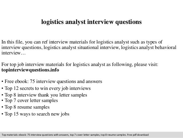 Logistics Analyst Interview Questions In This File, You Can Ref Interview  Materials For Logistics Analyst ...