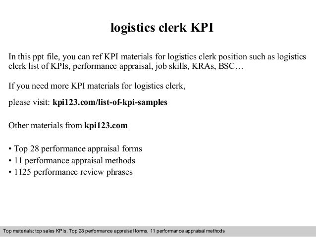 Logistics Clerk KPI In This Ppt File, You Can Ref KPI Materials For Logistics  Clerk ...