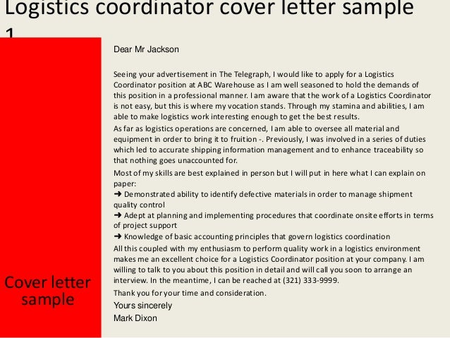 Logistics Coordinator Cover Letter ...