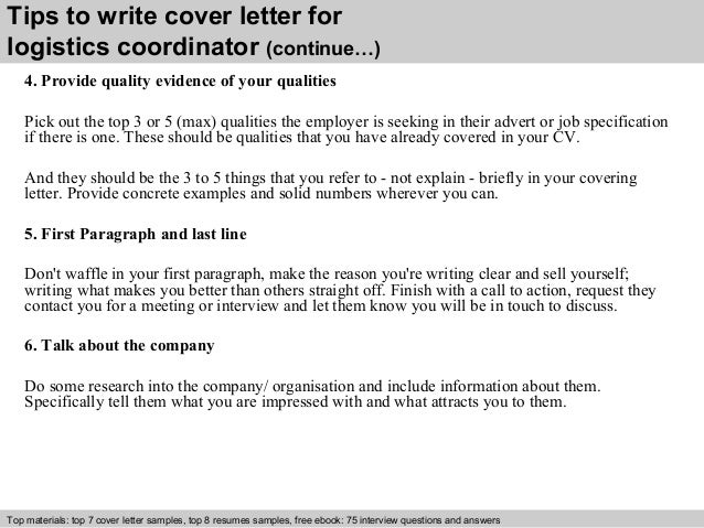 4 Tips To Write Cover Letter For Logistics Coordinator