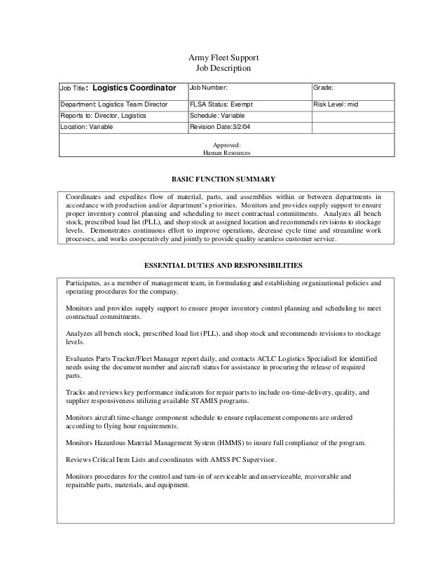 Logistics CoordinatorArmy Fleet SupportJob Announcement