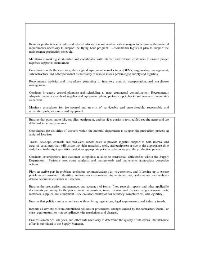 inventory control coordinator job description