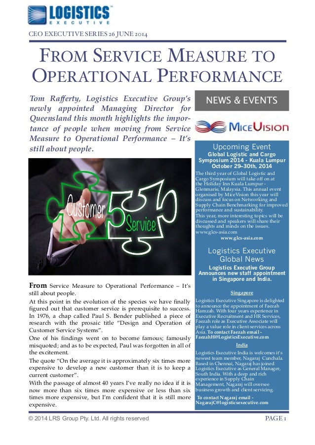 NEWS & EVENTS FROM SERVICE MEASURE TO OPERATIONAL PERFORMANCE! From Service Measure to Operational Performance – It's stil...