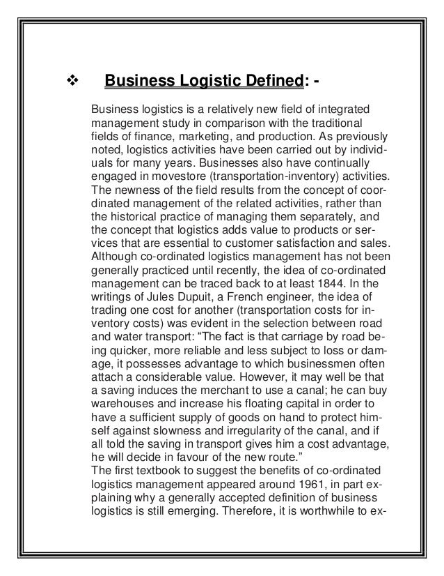 logistics assignment topics