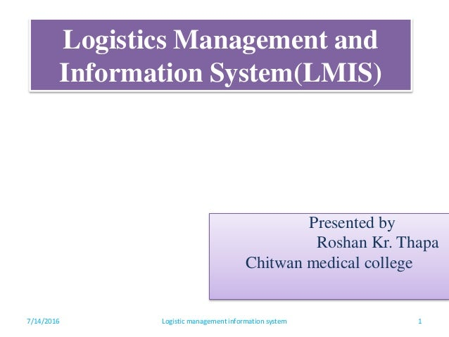 logistic information management Council of logistics management logistics services, information systems and infrastructure/resources are the three components of this system and closely linked.