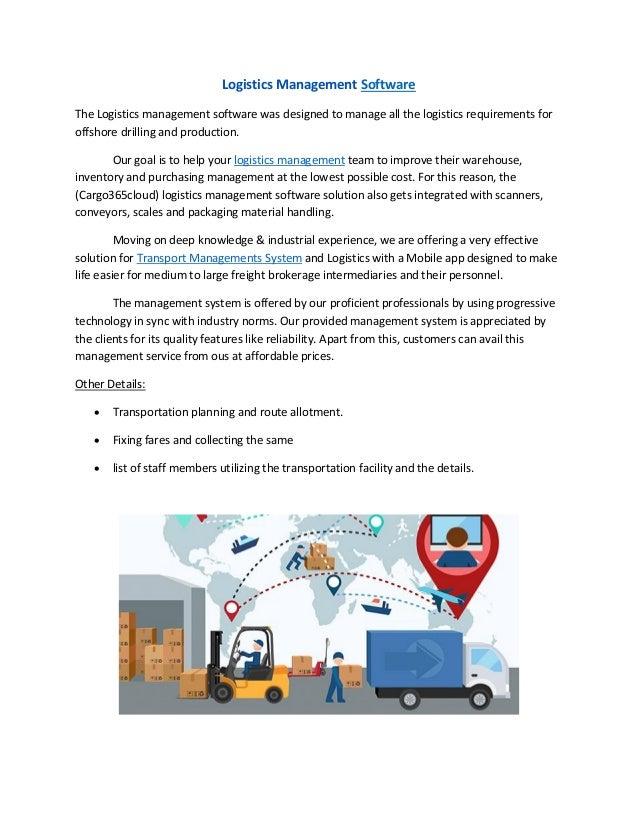 Logistics management softwares