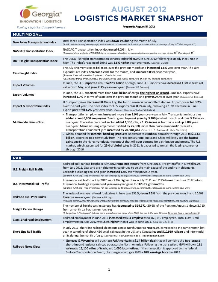 AUGUST 2012                                              LOGISTICS MARKET SNAPSHOT   Fueling Logistics Competitiveness    ...