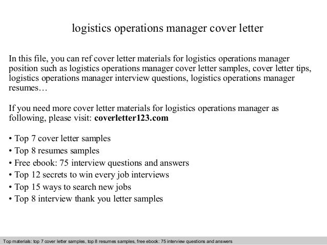 Logistics Operations Manager Cover Letter In This File You Can Ref Materials For Sample