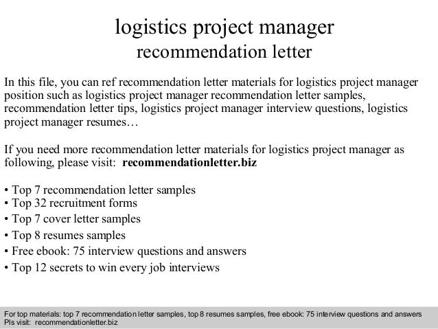 Interview Questions And Answers U2013 Free Download/ Pdf And Ppt File Logistics  Project Manager Recommendation ...
