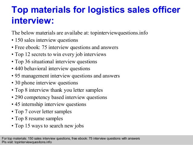 Logistics Sales Officer Interview Questions And Answers