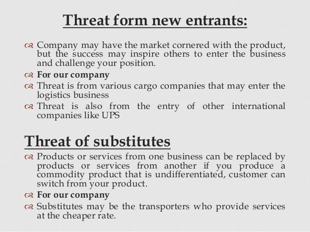 threats of new entrants Porter's five forces of competition can be used to analyze the competitive structure of an industry that influence and shape profit potential the threat of new entrants is low the bargaining power of suppliers is weak.