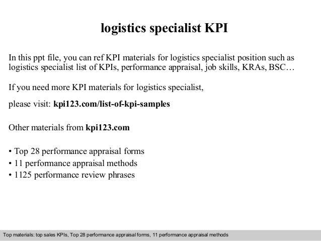 Logistics specialist kpi – Logistics Specialist Job Description