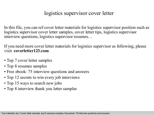 logistics supervisor cover letter in this file you can ref cover letter materials for logistics cover letter sample