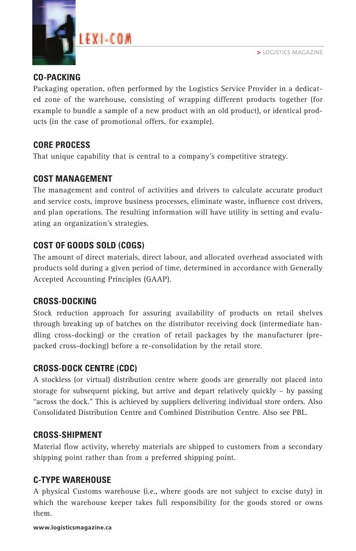 logistics terms and definitions pdf